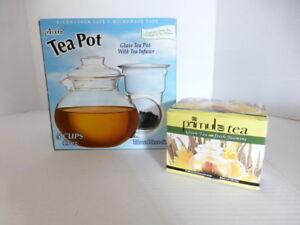 Primula Glass Tea Pot w/Tea Infuser 3 Pc Set 40 oz- 5 Cup 12 Tea Flowers NIB