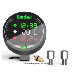 5 IN 1 12V Digital Motorcycle Water Temperature Gauge Sensor Adapter Voltmeter