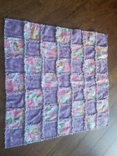 Handmade baby rag blanket purple floral flannel NEW