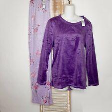NWT Hue Sleep Sz Lg 2pc Flamingo Long Fleece Pajama Lounge Jewel Purple Ret. $58
