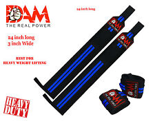 DAM Blue Stripes Weight lifting wrist wraps bodybuilding straps gym wraps New