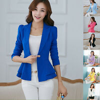 Ladies Women Casual Long Sleeve Slim Work Business Suit Coat Jacket Blazer Tops