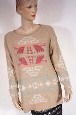 Ralph Lauren Women Tan Linen Southwest Indian Aztec Blanket Tunic Sweater L