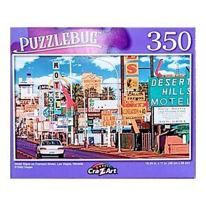Puzzlebug Motel Signs on Fremont Street, Las Vegas, Nevada Jigsaw Puzzle 350 Pcs