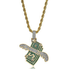 Flying Dollar Pendant Necklace Gold Plated Hip Hop Full Ziron Stainless Steel