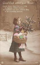 MERRY CHRISTMAS Girl & Xmas Tree ca 1910s Hand-Colored Greetings Postcard