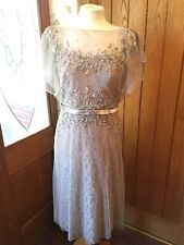 BEAUTIFUL, LACE/NET, BEADED GILL HARVEY COLLECTION MOCHA DRESS SIZE 12