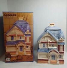 Treasure Craft Blue Victorian House Home Cottage Cookie Jar #382-80 w/orig box