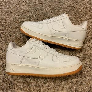 Vintage Nike Air Force 1 White Gold Gum Sole 2003 Basketball Sneakers Size 8
