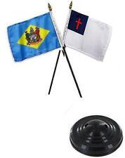 "State Delaware & Christian 4""x6"" Flag Desk Set Table Stick  Black Base"