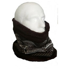 Reversible Fleece Knitted Fairisle Neck Tube Scarf Face Mask Brown Cream Snood