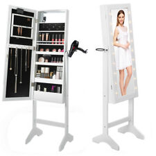 Floor Standing Jewellery Cabinet Storage Box Organiser with Mirror and LED Light