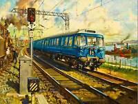 PAINTING RAILWAY ENGINE TRAIN GLASGOW HELENSBOROUGH LINE UK ART PRINT CC1001