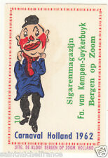 10. MATCHBOX LABEL 1962 CARNAVAL COSTUME NETHERLANDS PAYS BAS Carnival CARD 60s