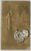 Silver Turkey At Estate Gate Gold Toned Card Thanksgiving Antique Postcard