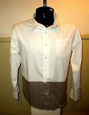 Men's DITCH PLAINS Taupe White Long Sleeve Shirt Size M