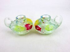 Pair St.Clair Handblown Glass Candleholder Paperweight Floral Multicolor Matched