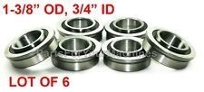 "6-PACK, FLANGED BEARINGS 1-3/8"" OD, 3/4"" ID, GO KARTS, IH-384881, MANY PROJECTS!"
