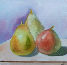 Hand Painted Original Watercolor THREE PEARS Still Life Fruits  Signed by JV