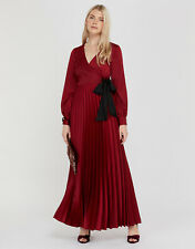 NEW MONSOON DAHLIA RED FULL PLEATED COCKTAIL MAXI DRESS GOWN SIZE 12 £110