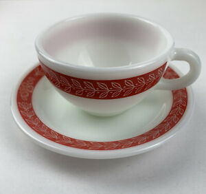 ONE Pyrex Red Laurel Double Tough Corning Cup Saucer Pair • Multiples Available!