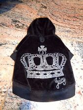 JUICY COUTURE Doggy Velour Bling Crown Hoodie Jacket SMALL
