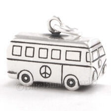 3D VW VAN w Peace Sign Volkswagen Bus Pendant Charm solid 925 Sterling Silver