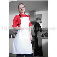 Warrior AP201 Polycotton Bib Apron with Pocket 85cm Length Catering Bar Cleaning