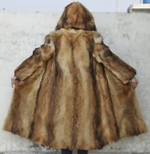 """COYOTE FUR COAT HOODED mens man SUPREME QUALITY! real HANDSOME plush 47"""" Long"""
