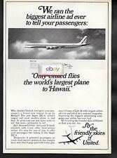 UNITED AIR LINES 1967 DOUGLAS DC-8 SUPER 63 LARGEST PLANE AD FOR A 4 PG LIFE AD