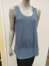 Next - Dusky Blue Marl Sleeveless Top with Silver Chain Trim - size 10