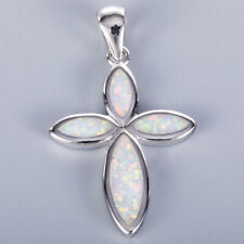 Infinity Cross White Fire Opal Silver Jewelry Necklace Pendant