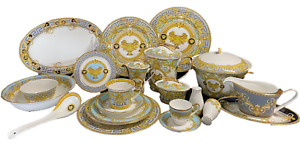 114 Pcs Light Blue Gold Greek Key Versailles Dinner Set, Complete Service for 12