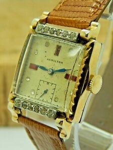 Vintage Hamilton Ruby and Rhinestone decorated flashy gents wrist watch 987F 17J