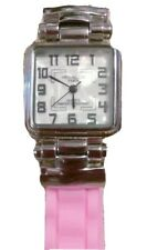 Women Vellaccio Paris Watch Double Sili Pink band White Mop Face Silver Case New