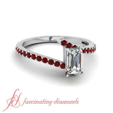 1.15 Ct Emerald Cut Diamond And Ruby Gemstone Engagement Ring in 18K White Gold