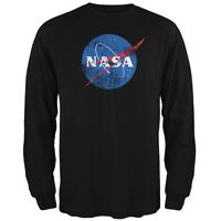 NASA Distressed Logo Black Adult Long Sleeve T-Shirt