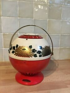 Vintage Toshiba transistor radio 1950s globe-shape decorated with chrysanthemums