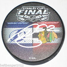 ANDREJ SUSTR (Tampa Bay Lightning) signed 2015 Stanley Cup Dueling puck w/ COA
