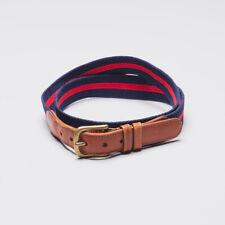 COACH Casual Belt Size 36/38 Men Navy Blue Red Grosgrain Ribbon