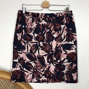 Sportscraft Pencil Skirt Size 12 M Floral Flower Print Corporate Career Work
