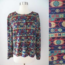 Multi-color geometric tribal Bolivian Inca cardigan sweater top women's LARGE