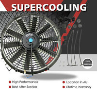 """16"""" Inch 120W Universal Electric Radiator Cooling Thermo Straight Blade Fan +Kit"""