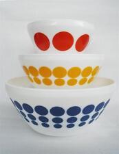 6-pc PYREX Vintage Charm SPOT ON Mixing Bowl Set Opal Glass DOTS Red Yellow Blue