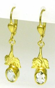 Ausgefallene Ohrringe Ohrhänger 333 Gold 8 Kt. mit Synt. Topas
