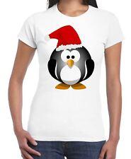 Christmas Cartoon Penguin with Santa Hat Women's T-Shirt