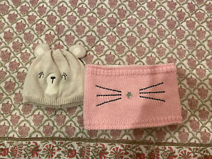 Baby Girls Gymboree Bear Hat Sz 12-18 Months & One Size Pink Cat Scarf Muffler