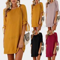 ZANZEA Women's Bowknot Long Sleeve Shirt Dress Summer Party Mini Dress Plus