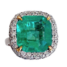 7.75ct Certified Fine Natural Colombian Emerald 925 Silver Handmade setting Ring