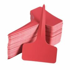 100pcs 6 x10cm Plastic Plant T-type Tags Markers Nursery Garden Labels Red
